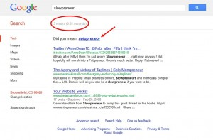 slowpreneur google search results 2012-08-30