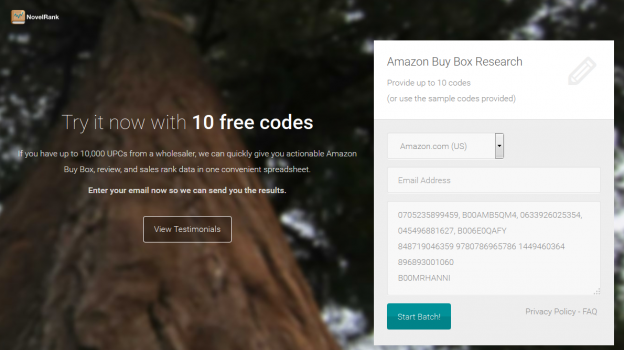 NovelRank Buy Box Trial Landing Page
